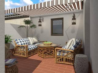 Terraza mediterránea : Terrazas de estilo  de Glancing EYE - Asesoramiento y decoración en diseños 3D , Mediterráneo