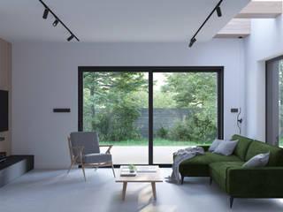 PROJEKT WNĘTRZ – DOM W ŻORACH: styl , w kategorii Salon zaprojektowany przez Głogowscy Architektura + Wnętrza,