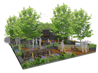 Trade Stand Concept for Chelsea Flower Show 2018 Aralia Zen garden Wood Green