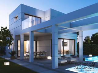 Villa en La Manga Club - vista nocturna: Casas multifamiliares de estilo  de Pacheco & Asociados