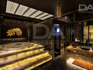 Back lit onyx(stone) stairs to luxury Jacuzzi Modern bathroom by Design Atelier Modern