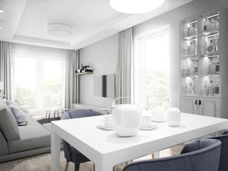 Salon z kuchnią w stylu skandynawskim od PROJEKTY WNĘTRZ Laura Kozak