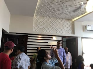 False Ceiling with Gypsum Board and CNC Designed , Duco Painted MDF:   by Interiorwalaa