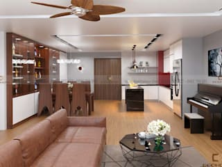 Tổ hợp không gian mở: phòng khách, phòng bếp và phòng ăn:  Phòng khách by Công Ty TNHH Xây Dựng & Nội Thất ECO Việt Nam