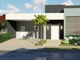 Casa linda e aconchegante: Casas modernas por Trivisio Consultoria e Projetos em 3D