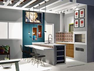 Espaço de lazer completo: Casas  por Trivisio Consultoria e Projetos em 3D