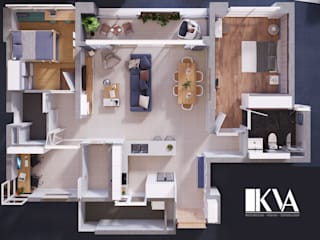 INTERIOR_APARTMENT ESTELLA: scandinavian  by KV Architecture, Bắc Âu