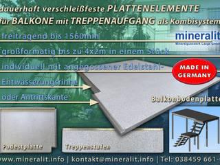 Podestplatten für Eingangsbereiche, Vorgärten oder Terrassenzugänge Moderner Balkon, Veranda & Terrasse von Mineralit - Mineralgusswerk Laage GmbH Modern