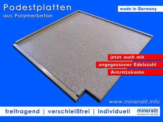 Podestplatten für Eingangsbereiche, Vorgärten oder Terrassenzugänge: modern  von Mineralit - Mineralgusswerk Laage GmbH,Modern