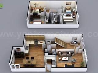 Modern Small House Design With Floor Plan Ideas by Yantram Architectural Rendering Studio - San Francisco, USA Yantram Architectural Design Studio