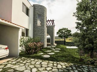 Vista llegando al estacionamiento Techado: Casas multifamiliares de estilo  por EMM Studio