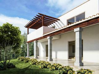 Jardín lateral hacia sala comedor: Casas de estilo colonial por EMM Studio