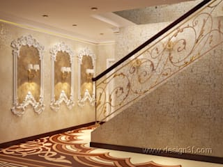 Asian style corridor, hallway & stairs by студия Design3F Asian