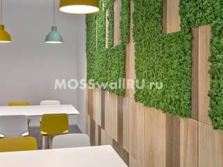 Бизнес центр Sky Milano - оформление стабилизированным мхом и деревом Столовая комната в стиле модерн от MOSSwallRU Стабилизированный Мох Модерн
