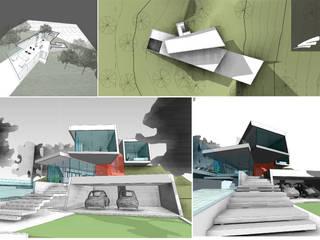Vivienda FF: Escaleras de estilo  por síncresis arquitectos