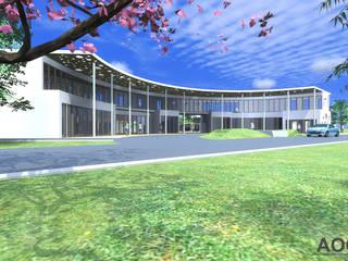 AOG Estudios y despachos de estilo moderno Hormigón Blanco