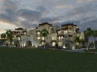 Hotel Parque acuatico Pueblo Nuevo Ixmiquilpan Hidalgo: Casas de estilo  por VISION+ARQUITECTOS