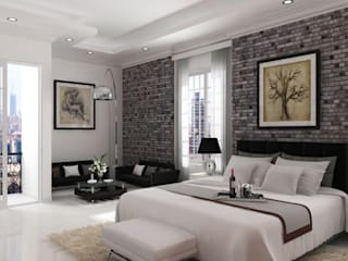 A.BORNACELLI Camera da letto moderna Cemento Bianco