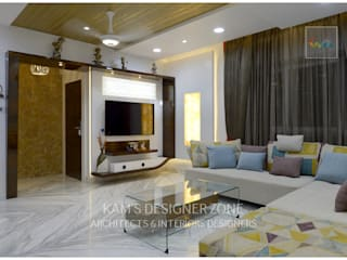 Flat Interior Design of Mr. Manish Wadia Modern living room by KAM'S DESIGNER ZONE Modern