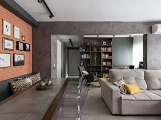 Rabisco Arquitetura Living room Concrete Grey