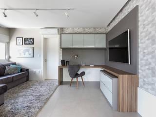 Rabisco Arquitetura Ruang Studi/Kantor Modern MDF Grey