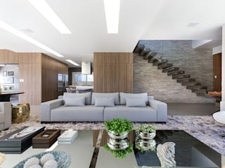 Rabisco Arquitetura Living room Wood Grey