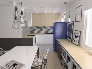 Mieszkanie / metal + geometryczne wzory: styl , w kategorii Kuchnia zaprojektowany przez Moble.