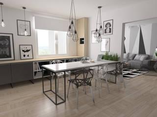 Mieszkanie / metal + geometryczne wzory: styl , w kategorii Jadalnia zaprojektowany przez Moble.