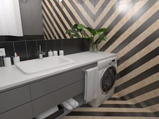 Mieszkanie / metal + geometryczne wzory: styl , w kategorii Łazienka zaprojektowany przez Moble.