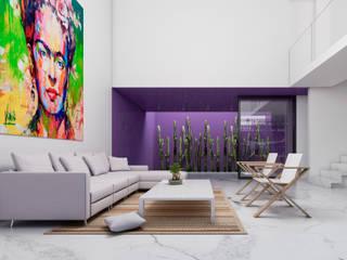 Obed Clemente Arquitecto Minimalist living room Concrete Multicolored