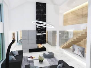 现代客厅設計點子、靈感 & 圖片 根據 4Q DEKTON Pracownia Architektoniczna 現代風