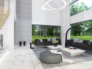 4Q DEKTON Pracownia Architektoniczna Living room Concrete Metallic/Silver