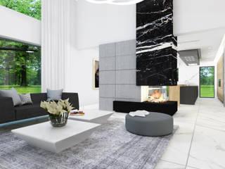 Dom jednorodzinny z antresolą - projekt wnętrz: styl , w kategorii Salon zaprojektowany przez 4Q DEKTON Pracownia Architektoniczna