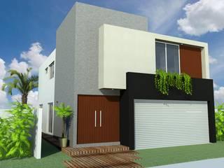 FACHADA PRINCIPAL: Casas de estilo  por GRUPO TEJAZ
