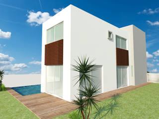 FACHADA LATERAL: Casas de estilo  por GRUPO TEJAZ
