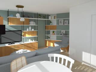 Rénovation complète Appartement Scandinave: Salon de style  par GRAM Architecture