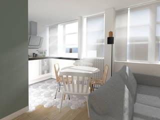 Rénovation complète Appartement Scandinave: Cuisine intégrée de style  par GRAM Architecture