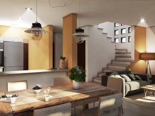 Conjunto de Casas en Xcaret Salones modernos de Segura Arquitectos Moderno