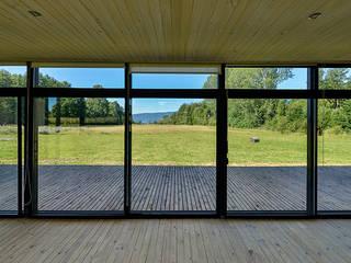 Vista hacia el Lago Villarrica a la distancia: Livings de estilo  por mutarestudio Arquitectura