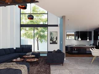 CASA CV: Salas de estilo moderno por CSR ARQUITECTURA
