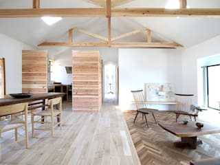 NASU CLUB Rustic style living room Wood Wood effect