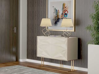 Móvel para o hall de entrada em lacado e metal dourado Furniture for the lobby in lacquered and gold metal ABU https://www.intense-mobiliario.com/pt/sapateiras/16882-sapateira-abu.html por Intense mobiliário e interiores Moderno