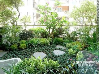 大地工房景觀公司 Balcones y terrazas de estilo asiático