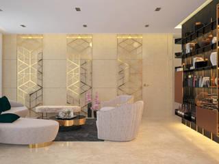 World Towers, Upper Worli:  Living room by Urbane Storey