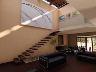 CASA ARBOLEDAS-MONTES DE OCA: Salas de estilo  por RUBIO + TOVAR ARQUITECTOS