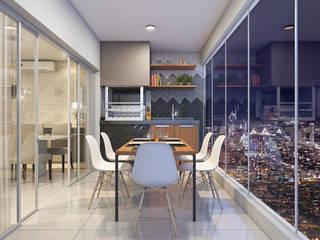 Estúdio j2G| Arquitetura & Engenharia Balkon, Beranda & Teras Modern Keramik Grey