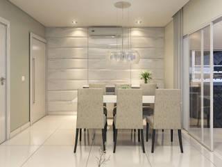 Estúdio j2G| Arquitetura & Engenharia Ruang Makan Minimalis Keramik White