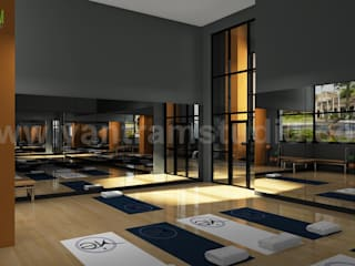 Aminities Area Renderings of Modern Community Apartment by Yantram interior design firms San Diego, USA Klasik Fitness Odası Yantram Architectural Design Studio Klasik