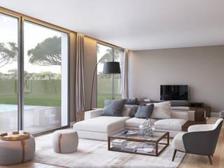 Salas de estar modernas por DZINE & CO, Arquitectura e Design de Interiores Moderno