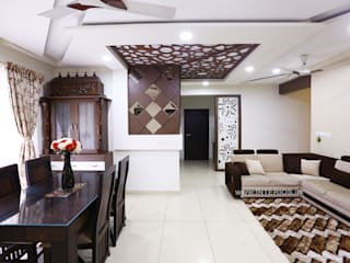 Elegant 3BHK Interior Design at Prestige Bella Vista Modern living room by Interios by MK Design Modern